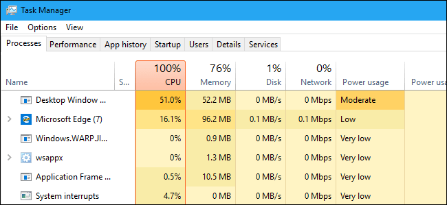 Complete Features of Windows 10 Redstone 5 – Top 10 Best Features - Power Usage in Task Manager App