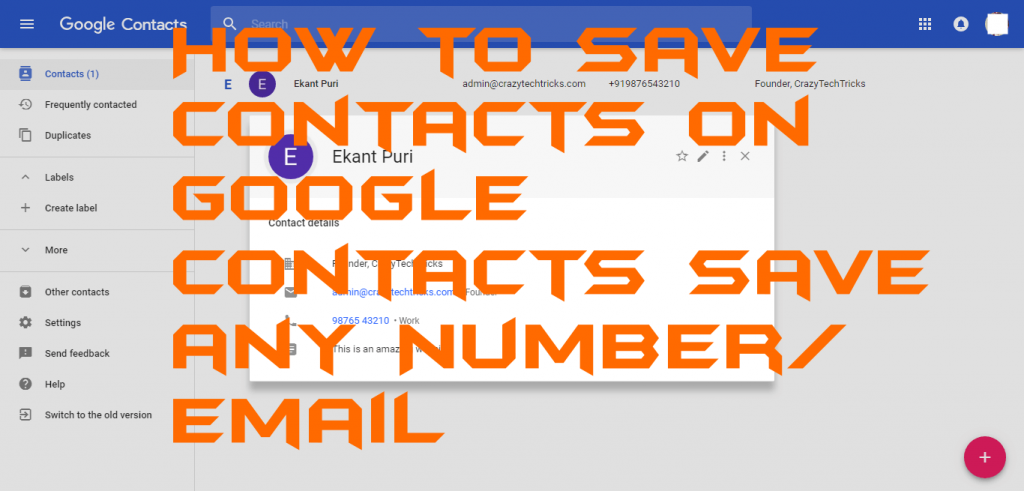 How to Save Contacts on Google Contacts – Save any Number-Email
