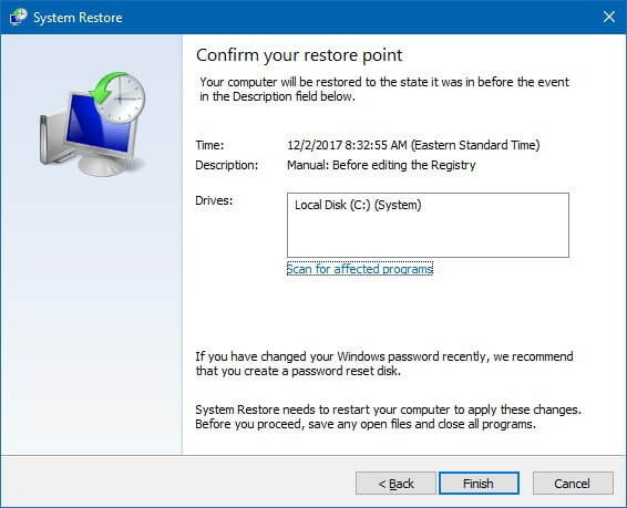 How to do a System Restore on Windows 10 – By System Properties App