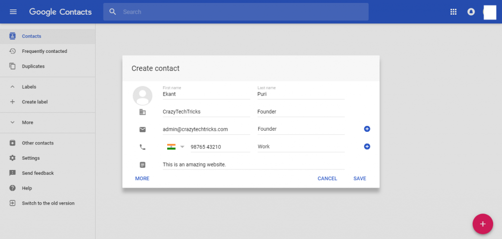 enter the details of your contacts and click on Save button - How to Save Contacts on Google Contacts – Save any Number-Email