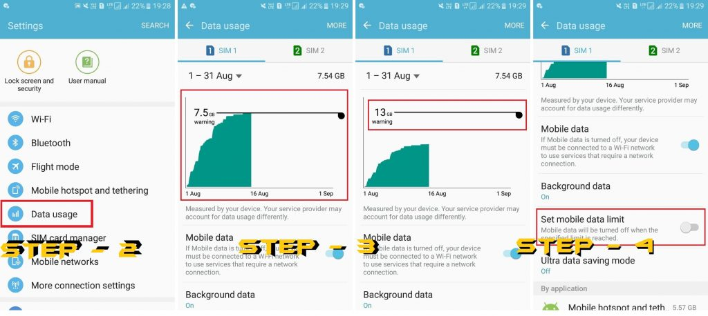 Check Mobile Data Limit and Reset- How to Fix Data Connection Problem in Android Mobile - Top 5 Methods