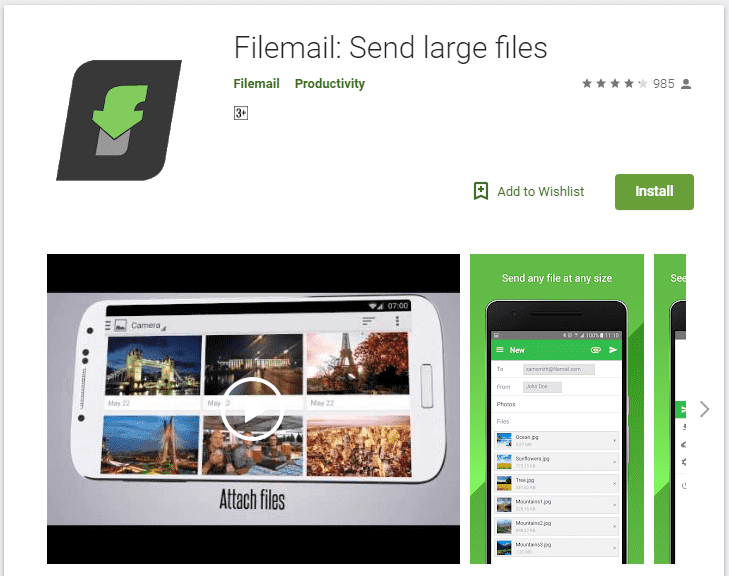 Send Large Files Through Gmail on Android using FileMail