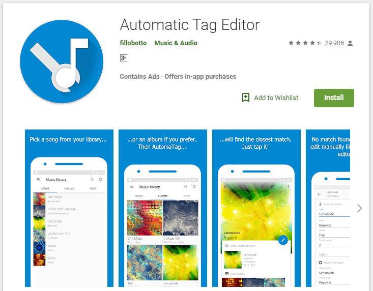 Automatic Tag Editor Android app to Edit Tags of Music on Android