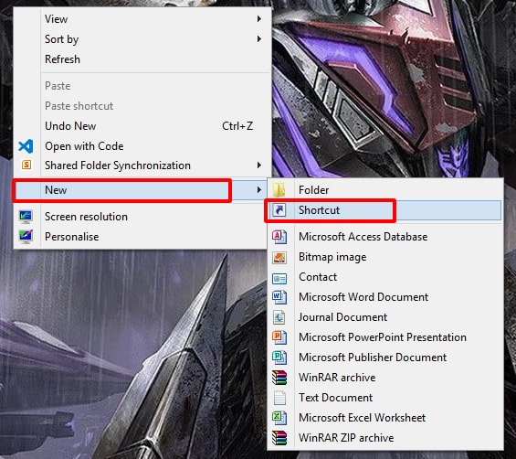 How to Create Website Shortcut on Desktop Internet Explorer - Using the Desktop Shortcut option - Right-click on the Desktop then click on New and click the shortcut option
