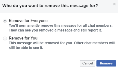 A popup will appear with Remove message for everyone or Remove message for you. - How to Unsend a Message on Facebook using PC Laptops
