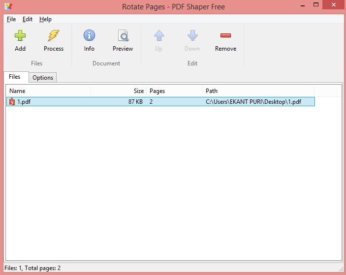 Click on Options - How to Rotate a PDF using Software PDF Shaper - Rotate or Merge PDF