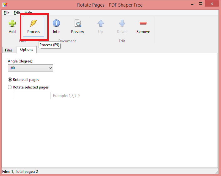 click on Process and save the PDF - How to Rotate a PDF using Software PDF Shaper - Rotate or Merge PDF