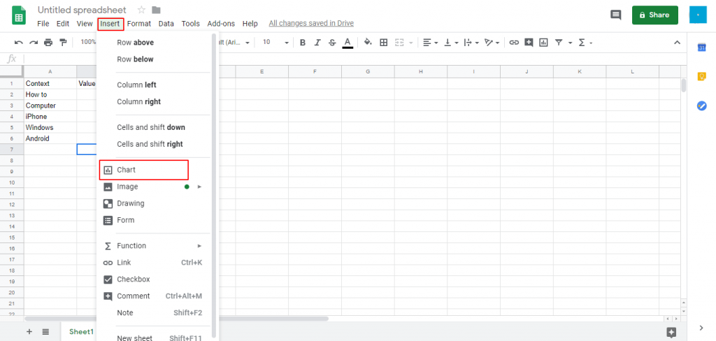 Click-on-the-Chart-option-How-to-Create-a-Graph-in-Google-Sheets