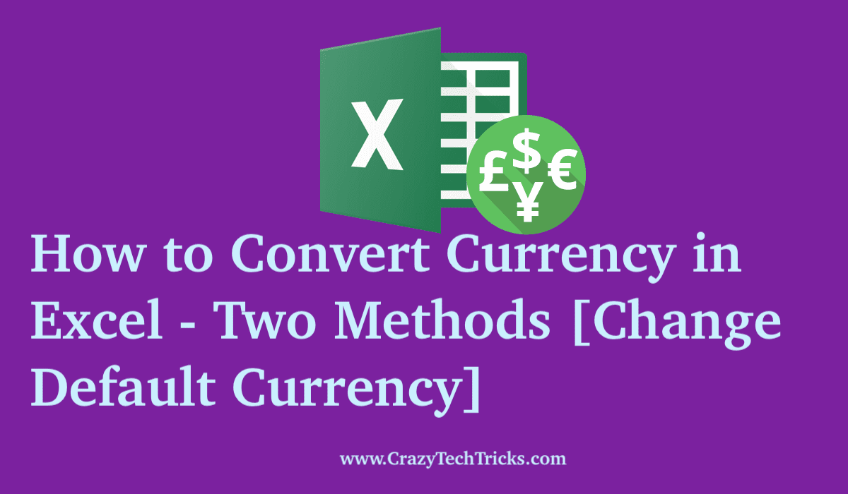 How to Convert Currency in Excel -
