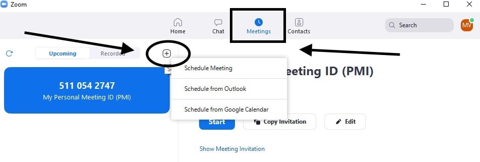 Click on (+) symbol on the left to start scheduling your Zoom meeting
