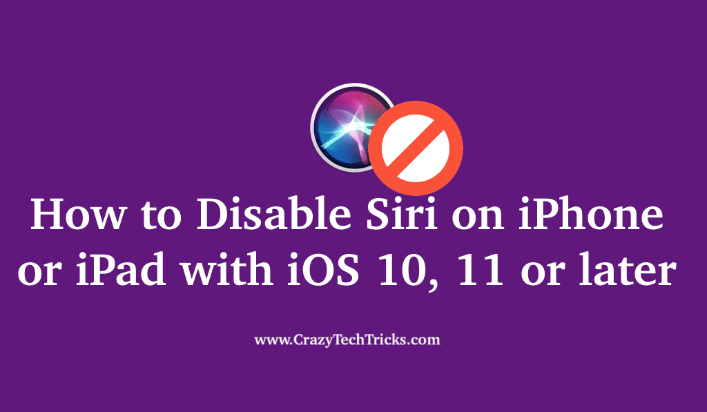 How to Disable Siri on iPhone or iPad
