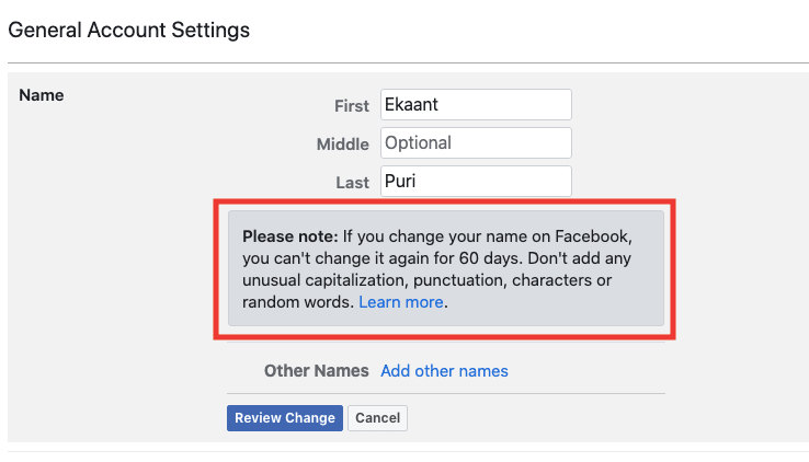 If you are trying to change your name before 60 days, you will receive a message