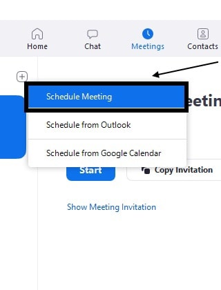 Now Click on the Schedule a meeting from options