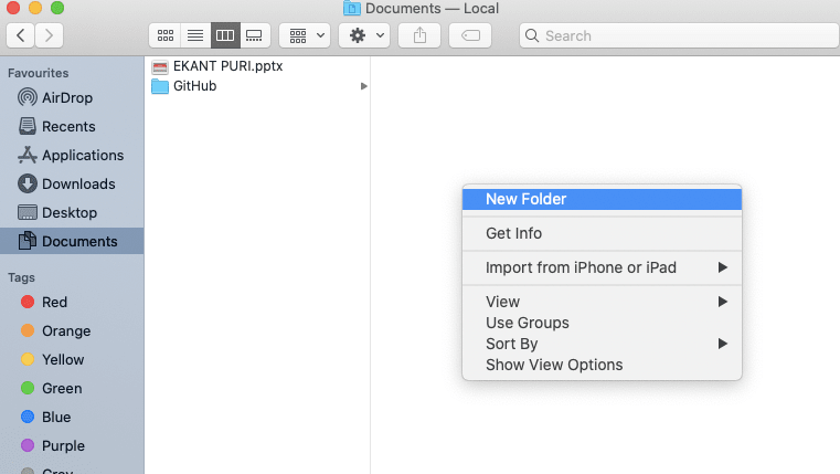 Right-click on the empty space in the Finder menu