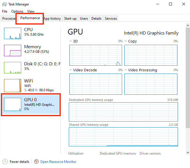 open GPU - Using Task Manager - What Graphics Card Do i have