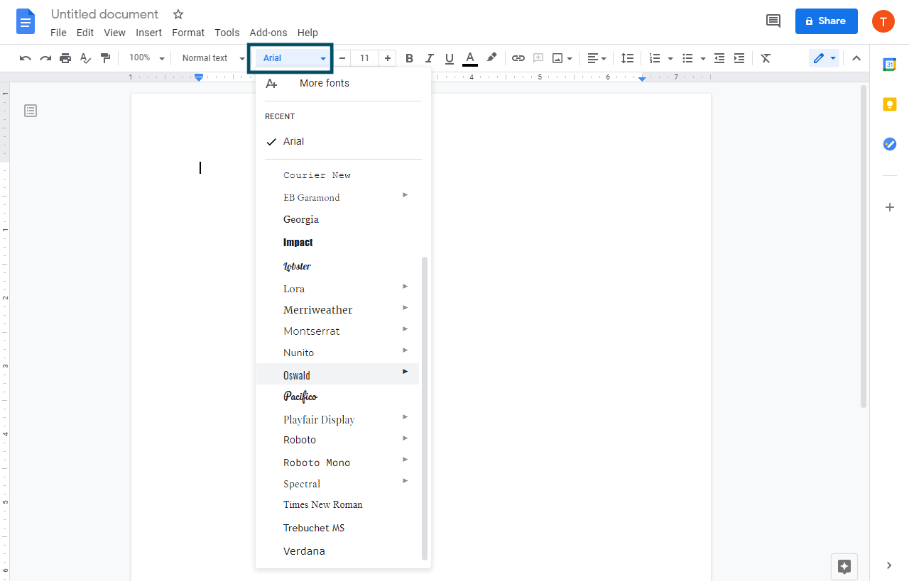 "Locate the ""Font"" dropdown from the Tool Bar and then click on the Arial"