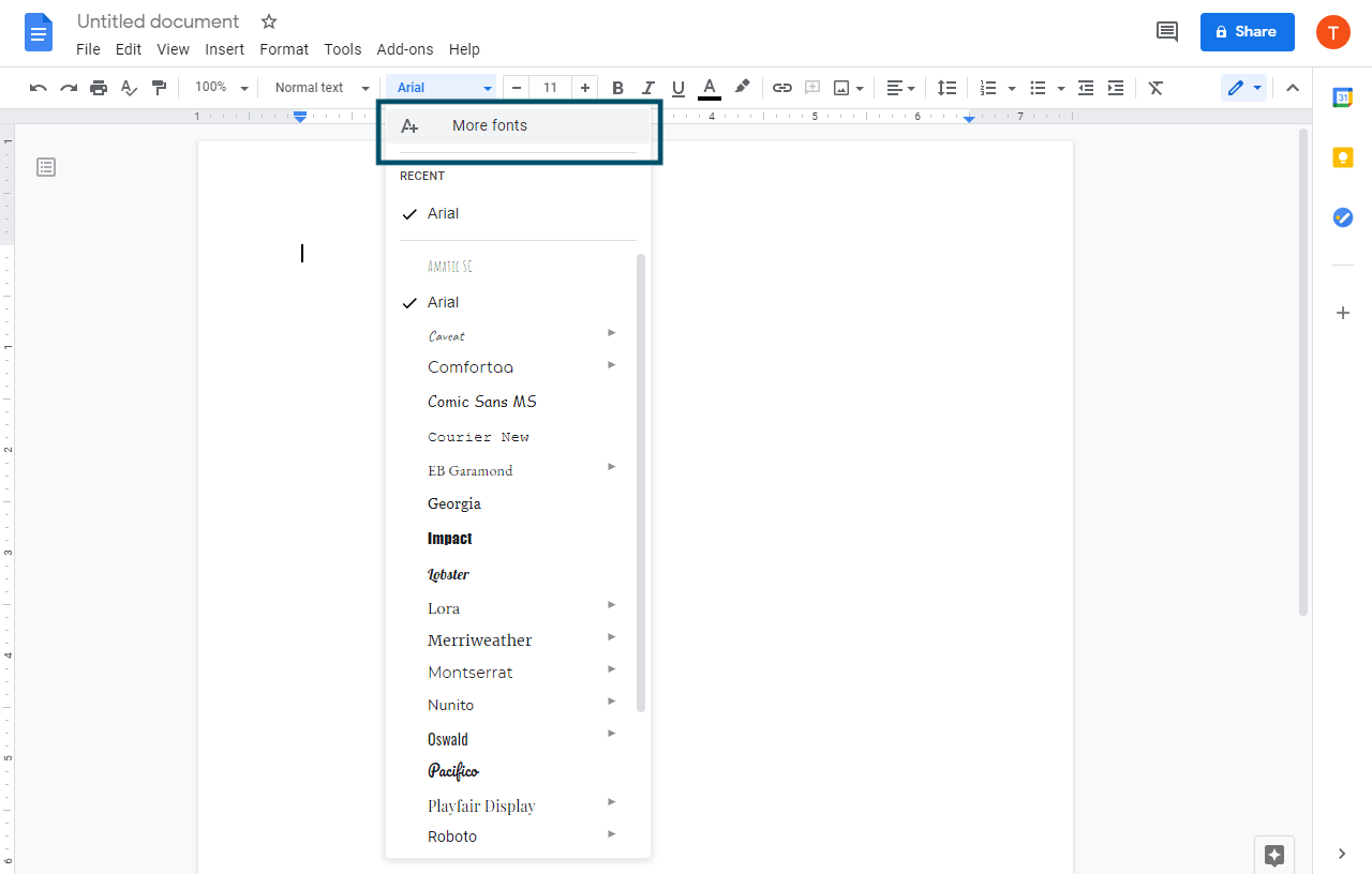 "Select the first option of ""More fonts"" from the drop down menu"