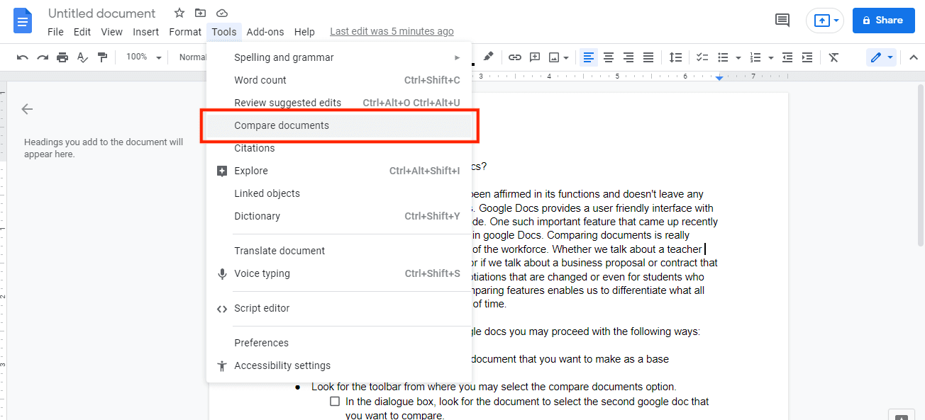 Open Google Docs and select the document that you want to make as a base document